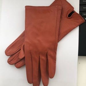 Accessories - Orange genuine leather gloves from Italy
